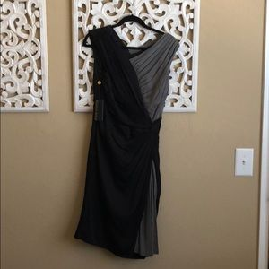 Tadashi Shoji black and grey draped dress